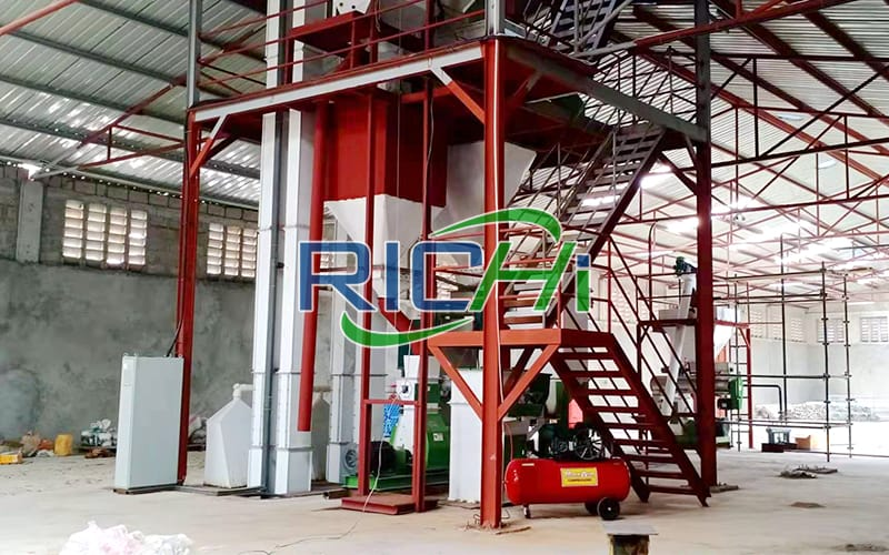 3-5T/H chicken poultry feed pellet production machine line in Uzbekistan