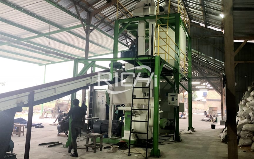 1-2TPH capacity new technology wood pellet manufacturing plant project in Indonesia